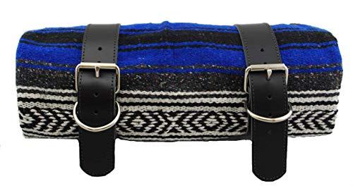 La Rosa Design Mexikanische Serape-Decke mit schwarzen Ledergürteln, Blau und Grau