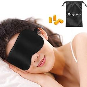 Kasimir Antifaz para Dormir 100% Anti-Luz Opaco Cómoda Agradable para la Piel Tela de Seda Natural Puro y Puros de algodón Relleno Antifaces Máscara Ajustable Antifaces Tapones para los oidos