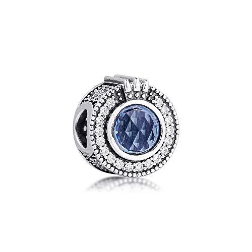 LISHOU Mujer Pandora S925 Plata Esterlina Brillante Azul Corona O Niña Encantos De Cuentas De Moda Niña Pulsera Collares DIY Fabricación De Joyas