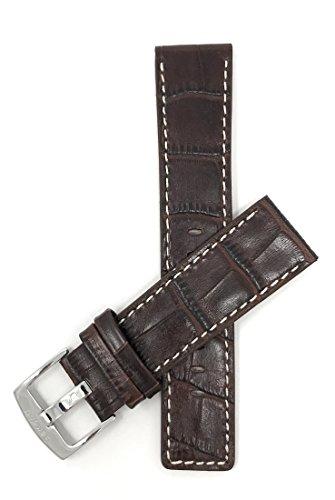 22mm - 30mm, Correa reloj de cuero auténtico, Marrón, con costura blancoa, hebilla de acero inoxidable, disponible en negro, blanco, marrón, azul real