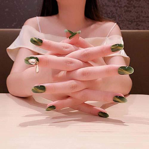 Rpbll 24 pcs/box Finished green fake press on nails Patch Fresh Avocado Green Shiny 3D Rhinestone Charm Cat Eye short nails with glue