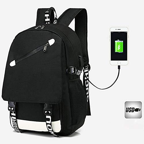 Mochila de Cargador USB Unisex Luminosa para niño Mochilas para computadora portátil para Adolescentes Hombre Paquete de Viaje de Ocio-Negro