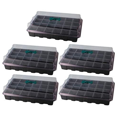 iplusmile 5 Sätze Saatgut-Starterschale - 24 Zellen Pro Pflanzenkeimungsset - mit Atmungsaktiver Entlüftung Gartensamen-Startschale