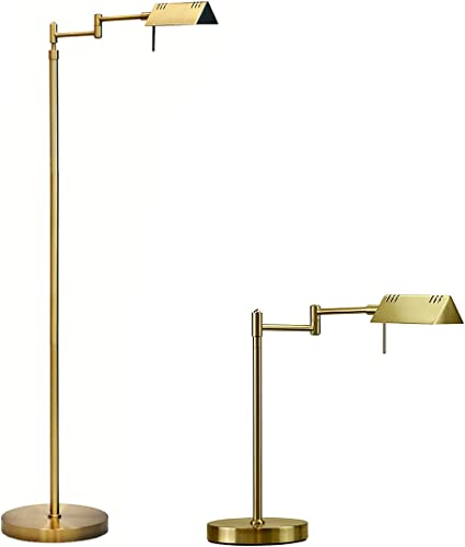 lowest O'Bright LED Pharmacy lowest Floor Lamp and Table Lamp Bundle, 12W LED, Full Range Dimming, 360 Degree Swing Arms, Reading Lamp, Task Lamp for Craft Work and Sewing, Antique high quality Brass outlet online sale