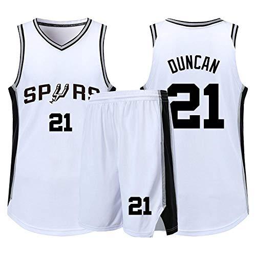 Zyf Basketball Trikot Retro Jersey, Männer Basketball Jersey Spurs (Tim Duncan) # 21, Kühl Und Atmungsaktiv Gestickte Jersey Sport Fans Ärmel T-Shirt + Shorts, XS-XXL (Color : White, Size : XL)