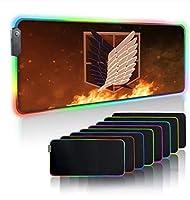 タイタンキーボードマットへのRGBマウスパッドゲーミングアタックバックライト付きラップトップゲーマーマットUsbRgbマウスパッドLEDXXLカーペット 700X300MM