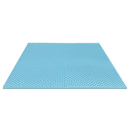 Furinno Angeland 2-Inch Egg Crate Gel HD Foam Mattress Topper, King, Blue
