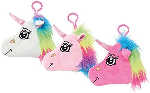Einhorn-Plüschtasche mit Karabinerhaken Unicorn Anhänger für Tasche / Rucksack/ Schulranzen mit Reißverschluss und kleiner Tasche: VE: 12 sortiert, 3 Farben Rosa, Pink, Weiß