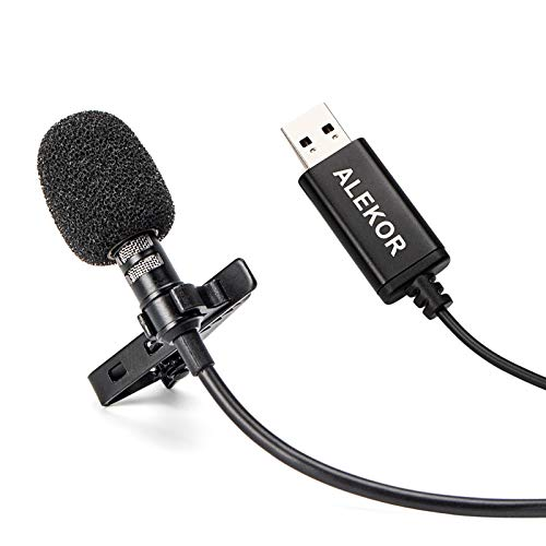 ALEKOR USB Lavalier Microphone Clip-on Lapel Mic Conference Microfono for Computer Laptop Desktop (9.8 feet)