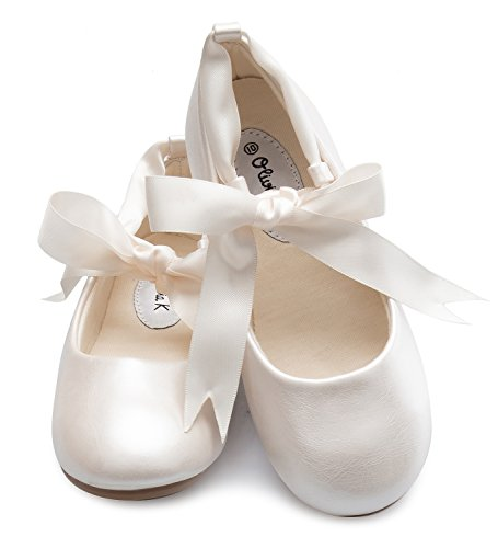 Olivia K Girls Adorable Ballerina Mary Jane Flats Ribbon Tie Shoes, Ivory Y2
