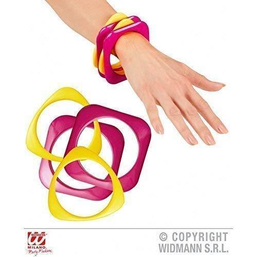 Lively Moments 4 stylische Armreifen 70er / 70 er Jahre / Fasching / Kostümzubehör pink - gelb