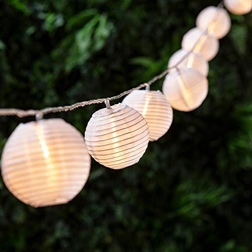 Cadena de Luces Solares Exteriores con 40 Linternas, Cadena de Luz Solar Exteriores a Prueba de Agua IP65, Luces LED Solares de Decoracion Oriental para Jjardin, Patio, Balcon (Blanco Calido)