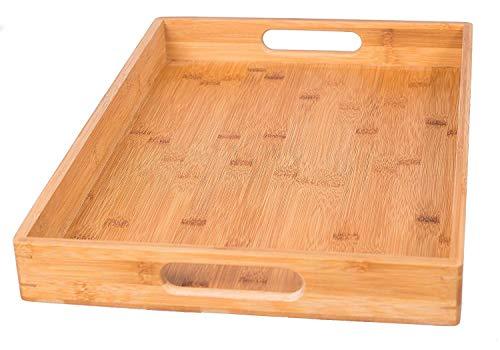 Plateau de service en bois de bambou massif, petit-déjeuner gigogne rectangulaire, plateaux de service pour table basse/majordome,36x23x4cm