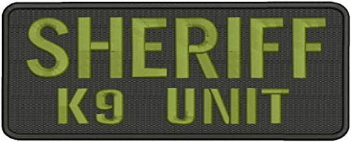 Embroidered Patch - Patches for Women Man - Sheriff k9 Unit Hook on Back od Green Letters