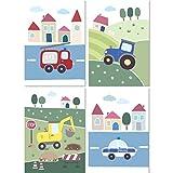 LALELU-Prints   A4 Bilder Kinderzimmer Poster   Süße Fahrzeuge   Babyzimmer Deko Junge Mädchen   4er Set Kinderbilder (DIN A4 ohne Rahmen)