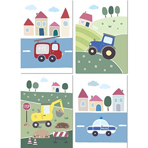 LALELU-Prints 4er Set Bilder Kinderzimmer Deko Junge Poster Fahrzeuge Bagger Traktor Polizei Feuerwehr DIN A4 I Babyzimmer Baby I Wandbilder Kinderbilder Babybilder