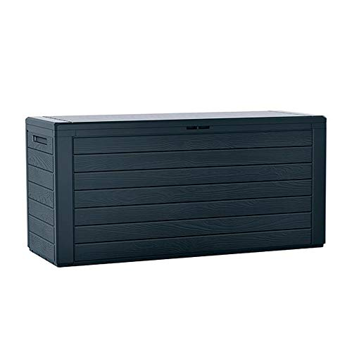 Prosperplast Woodebox Gartentruhe 280 Liter Boardebox aus Kunststoff in Anthrazit 116 x 43,8 x 55 cm, groß