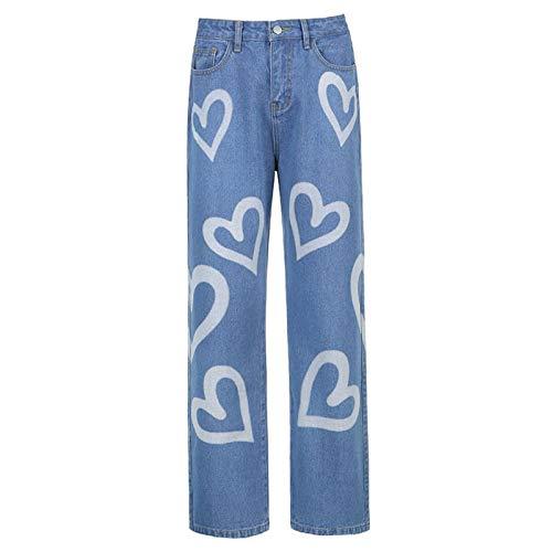 qiulanjia Ins Estilo Europeo y Americano Personalidad Graffiti Y2k impresión Suelta Pierna Recta Jeans Mujeres Todo-fósforo Pantalones Casuales de Cintura Alta