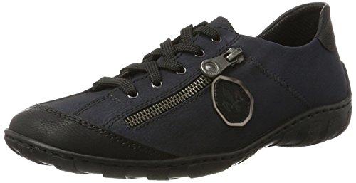 Rieker Damen M3724 Sneaker, Blau (Schwarz/pazifik/altsilber), 39 EU