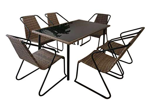 7PCS Outdoor Dining Set Table and Stacking Chairs, Black Safety-Glass Table-Top, 6 Chairs Constructed with PE Rattan Weave Material and Durable Aluminium Frame Poly Rattan Garden Patio Furniture Set