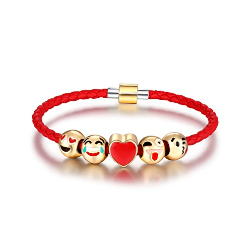 "Silver Tone European Charm Bracelet 8.3"" Cute Emoji Charm Bracelet for Kids DIY Jewelry Making Kit 1 By ROUNT.CL"