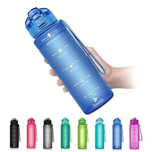 ZOUNICH Botella Agua Deporte, Botella Agua Niños sin BPA Reutilizable Plástico Tritan...