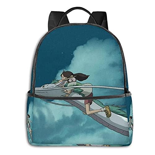 Spirited Away Mochila con cremallera suave bolsa de viaje ocio portátil estudiante universidad escuela escuela ciclismo ocio camping al aire libre