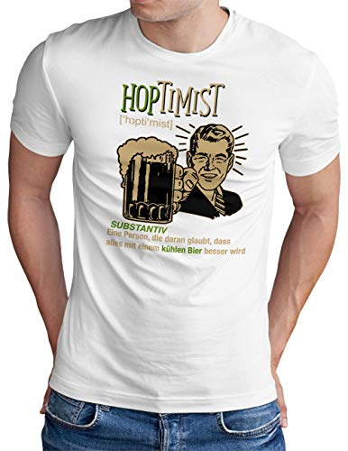 OM3® Hoptimist T-Shirt | Herren | Bierliebhaber Hopfen Bier Fun Party Retro Guy | Weiß, S