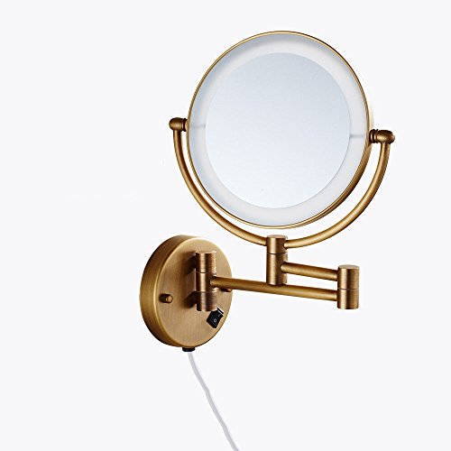 MIWANG Les salles de Bains sont Maquillage rétro Miroir WC avec LED Lights Out de l'ancien rétroviseur Rabattable agrandir Duplex Le Miroir de courtoisie, 8 Pouce