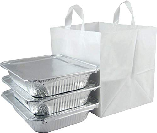 ZT Packaging Take Out Bag Medium 14 x 11.5 x 12; 200Pcs Half Tray Catering Bags Cardboard Bottom Soft Loop Handles White Plastic Shopping Bag