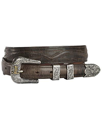 Lucchese Men's Burnished Goat Seville Stitch Leather Belt Chocolate 36