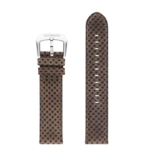 DETOMASO echtes italienisches Uhrenarmband aus Leder 20mm (Leder - Grau)