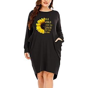 Long Sleeves Oversize Dresses with Pocket for Women Sunflower Print