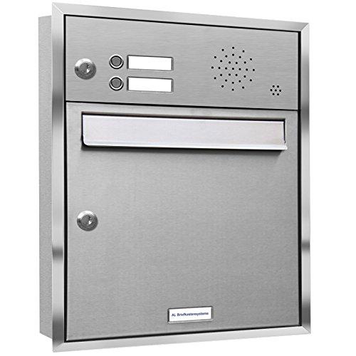 AL Briefkastensysteme, 1er Unterputzbriefkasten, Briefkasten mit Klingel, 1 Fach, Briefkastenanlage modern, rostfrei Edelstahl Postkasten