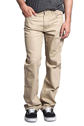 Victorious Mens Straight Fit Color and Raw Denim Jeans DL105 - Khaki - 42/34