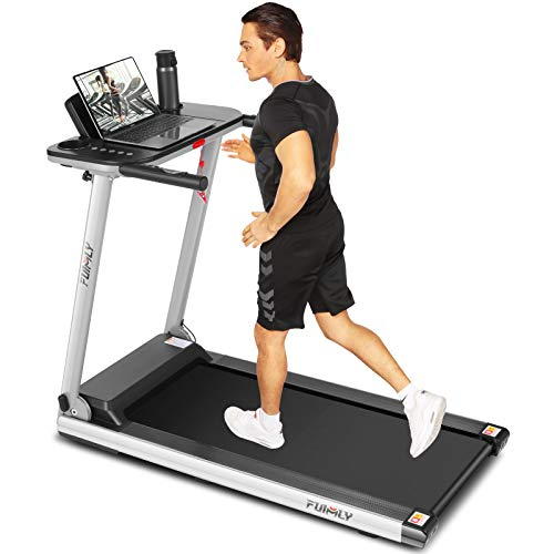 FUNMILY Treadmill, 2.25Hp Folding Electric Treadmills with Large Desk and Heavy Duty Steel Frame, 12 preset Programs, Best Walking Running Exercise Treadmill Machine for Home Gym Office Cardio Use