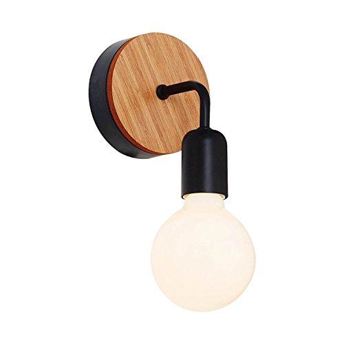 Homemania wandlamp Valetta kleur zwart, eiken hout, metallic per woonkamer, keuken, slaapkamer, kantoor, eenheidsmaat
