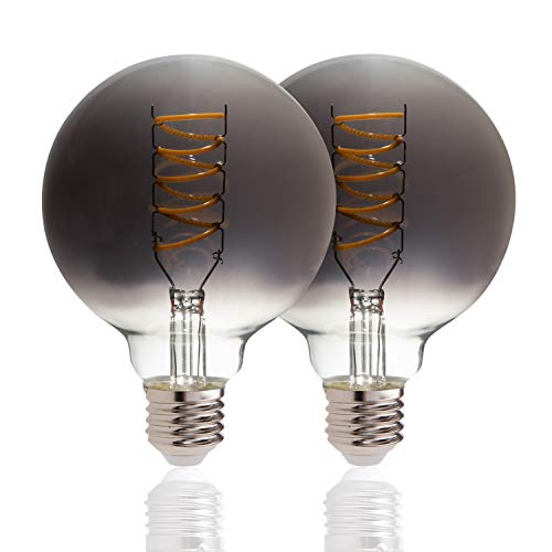 LED Glühbirne E27 Fassung Vintage Leuchtmittel Mit Rauchglas-Optik Dimmbar, Leuchtmittel-Set:Rauchglas 2er Set, Leuchtmittel-Form:G95-Kugel