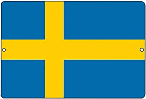 Lilyanaen New Tin Sign Swedish Flag Metal Tin Sign Wall Decor Man Cave Bar Sweden for Outdoor & Indoor 8