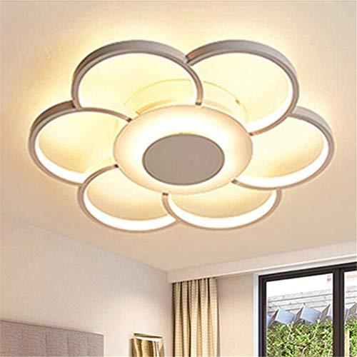 Lámpara de techo, diseño de flor, luz blanca cálida, para salón, 36 W, 50 x 6 cm, dormitorio, lámpara de techo LED, comedor, cocina, lámpara de baño, lámpara de techo para baño
