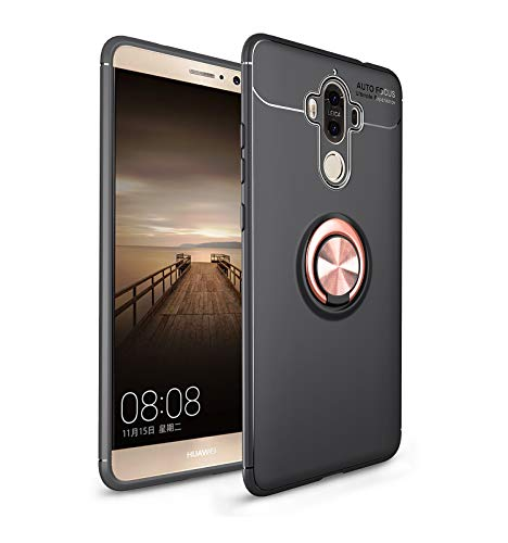 iCoverCase Compatible with Huawei Mate 9 Case,[Invisible Matal Ring Bracket][Magnetic Support] Shockproof Anti-Scratch Ultra-Slim Protective Cover Case Kickstand (Rose Gold+Black)