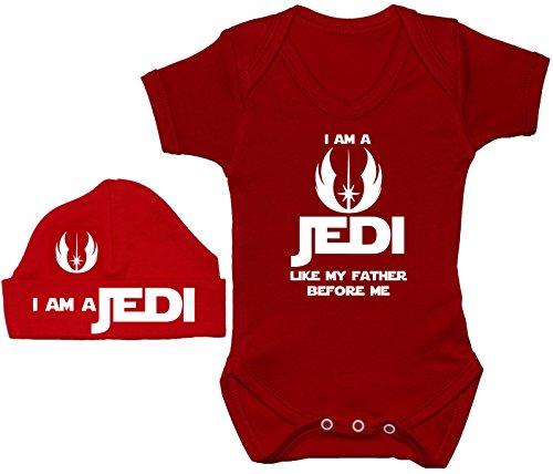 Acce Products I Am a Jedi Like My Father Before Me Baby Grow/Body Barboteuse/T-Shirt & Bonnet 0 à 12 mois - Rouge - XXS