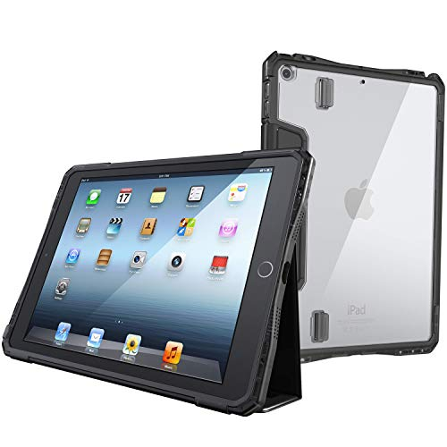 UZBL iPad 10.2 (7th Gen) Case, Rugged Groove Folio Case with Magnetic Removable Smart Cover, Multiple Standing Angles, Clear Rear Window