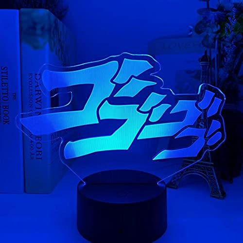 Anime Lights 3d Led, Anime JoJo's Bizarre Adventure Letter Design Luz Nocturna LED Sensor Táctil Luz Nocturna Colorida, Mesa de Decoración del Hogar Lámpara 3D Regalo Luces Nocturnas LED