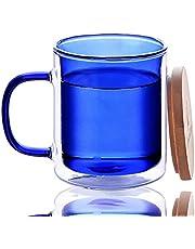 Candiicap Gekleurd Dubbelwandig Glas Mok met Handvat en Deksel, Transparante Koffiemok voor Koude en Warme Dranken, Koffiebeker voor Cappuccino, Laat, Macchiato, Thee, Bier