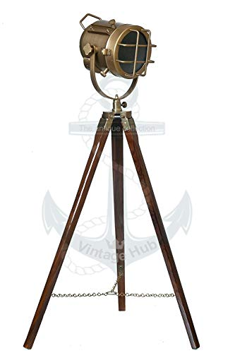 Vintage Hub Brass Tripod Lamp Antique Floor Lamp with Wooden Stand