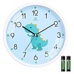 1. Laigoo Store Non-Ticking 11″ Tilted Kids Dinosaur Wall Clock