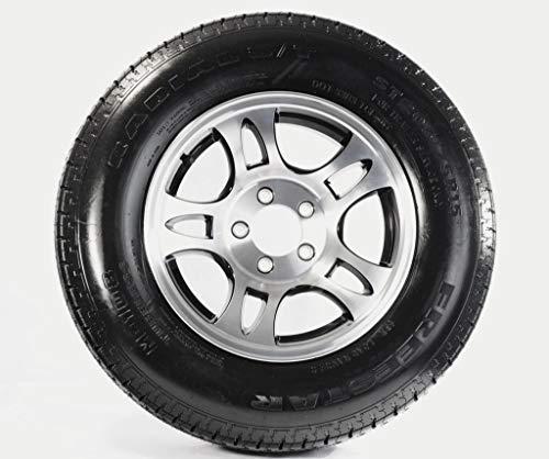 2-Pk Trailer Tire ST205/75R14 LRC 5-4.5 Aluminum T03 Black Spoke covid 19 (Spoke Aluminum Trailer Tire coronavirus)