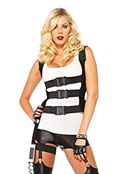 Leg Avenue Women s Body Harness with Garter iPhone Holder and Walkie Talkie Cord SWAT Black Small/Medium