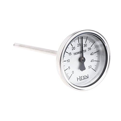GUMEI Termómetro bimetálico de Acero Inoxidable 1 / 4PT Rosca L = 100 mm 0~50 ~ 300 ℃ WSS-303